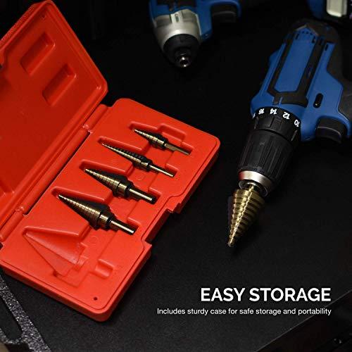 Neiko 10197A Titanium Step Drill Bit Set, High Speed Steel | 5-Piece Set | Total 50 Sizes