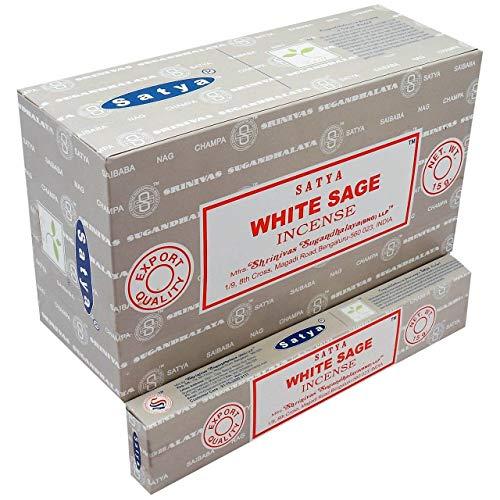 Satya Lot de 12 boîtes d'encens Sauge blanche 15 g