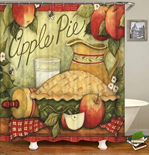 LGY Ölgemälde. Apfel. Duschvorhang. Badezimmerzubehör. Wasserdicht. Enthält 12 Haken. Duschvorhangstangenringhaken. Hintergr&. Party. Wohnzimmer.
