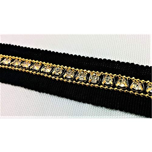 TOMASELLI MERCERIA 50 cm lusband met goudkleurige ketting en Swarovski-strass 20 mm hoog