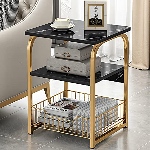 Modern Black Side Table with Storage Basket, 3 Tier Faux Marble End Table with Matte Gold Metal Frame for Living Room, Bedroom Nightstand