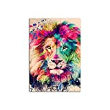 PENGDA Modern Home Decor Animal Lion Canvas Painting Abstract Graffiti Pictures Wall Art Prints Watercolor Modular Poster for Living Room Unframed 8.4x12inches