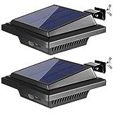 BILLION DUO Lampe de gouttière solaire à 40 LED pour extérieur avec détecteur de mouvement IP65 étanche Mur éclairage mural 1800 mAh PIR Noir froid Éclairage solaire pour jardin, clôture