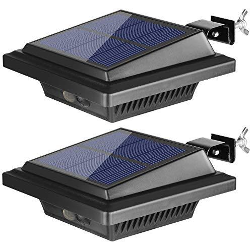 BILLION DUO Dachrinne Solarleuchte mit Bewegungsmelder 40 LEDs | Solarlampen für Außen | Schwarz Gartenbeleuchtung Kaltweißes Solarlicht, 3W PIR Sicherheitswandleuchte Außenlampe für Garage, Patio