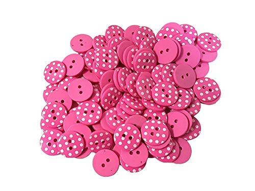 100 X Rose Vif Blanc à Pois Size 24 Buttons