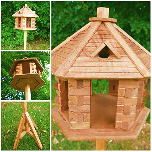 Garden Mile Traditional Wooden Bird Table Garden Birdhouse Feeder Sheltered Feeding Station Portable Free Standing Feeding Table Station Bird Houses 3 Styles. (Pagoda Style Bird Feeding Station)
