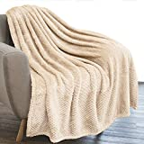 PAVILIA Waffle Textured Fleece Throw Blanket for Couch Sofa, Ivory Cream | Soft Plush Velvet Flannel Blanket for Living Room | Fuzzy Lightweight Microfiber Throw for All Seasons, 50 x 60 Inches