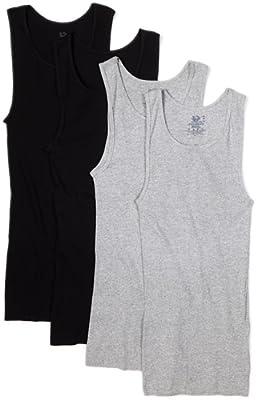Fruit of Loom Men's A-Shirt Multipack (X-Large (46-48), Black/Gray)