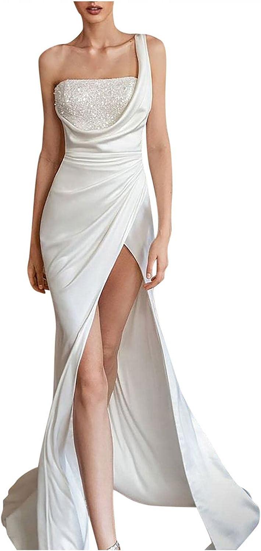 Fashion Women's Sexy One Shoulder Sling Dress Casual Slim Split Maxi Party Dress White