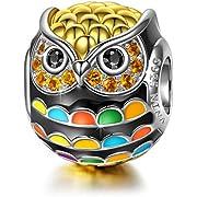 NINAQUEEN Charm für Pandora Charms Armband Eulen Tiere Geschenk für Frauen Silber 925 Zirkonia Schmuck Damen mit Schmuckkasten