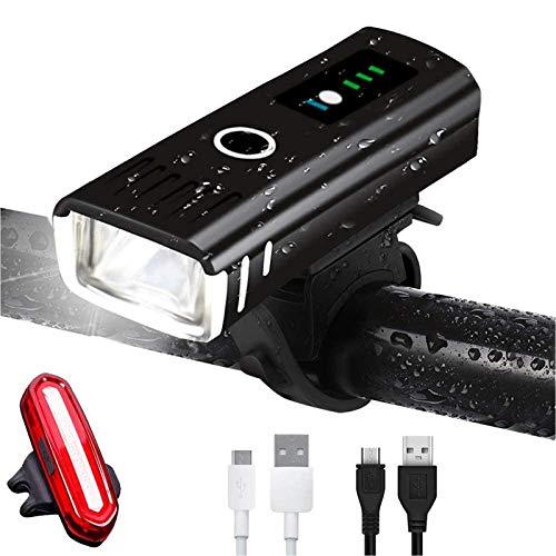 AMANKA Luces Bicicleta Recargable LED, Luz para Bicicleta por USB con Pantalla...