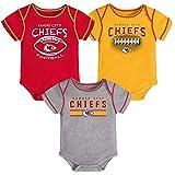 Outerstuff 3 Pack Kansas City Chiefs Newborn Infant Baby Bodysuit Onesie (3-6 Month)
