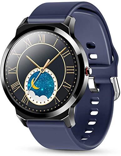 DHTOMC Señoras reloj inteligente 1.3 pulgadas pantalla a color moda deportes salud monitoreo pulsera-azul
