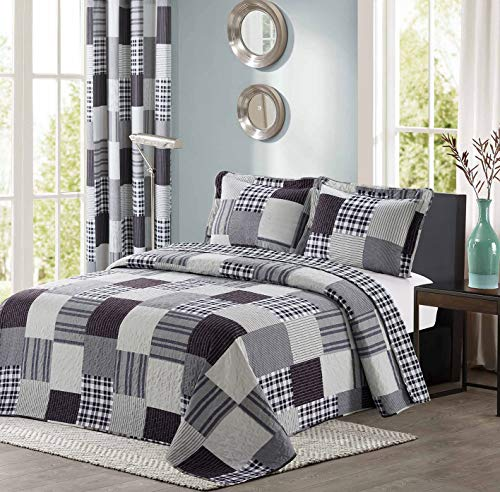 All American Collection Black and Grey Modern Plaid Bedspread and Pillow Sham Set | Matching Curtains Available! (Twin Size)