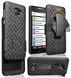 Case with Clip for Jitterbug Smart2, Nakedcellphone [Black Tread] Kickstand Cover with [Rotating/Ratchet] Belt Hip Holster Combo for GreatCall Jitterbug Smart2 Phone (5049SJBS2, Smart-2)