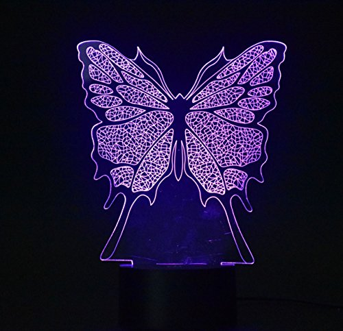 WEIYIKANG 3D Butterfly Night Light LED Optical Illusion Lamp, 7 Colors Changing Touch Desk Lamp for Kids Birthday