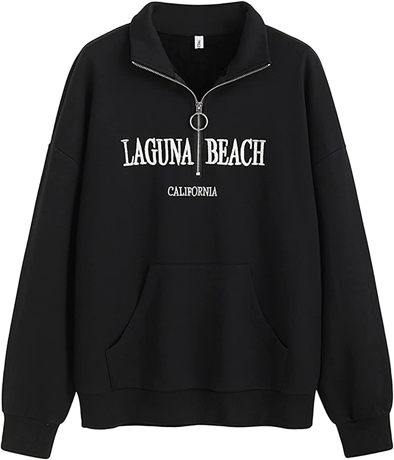 Autumn and winter new half-open collar plus fleece sweater loose pullover pure cotton letter printing coat
