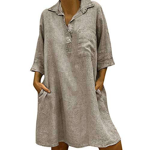 aihihe T Shirt Dresses for Women Knee Length 3/4 Sleeve Summer Dress Solid Cotton Linen Casual Dress with Pockets Khaki