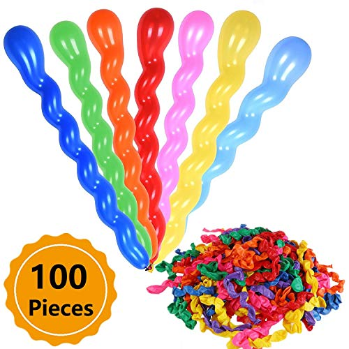 100Pcs 40 Inches Latex Spiral Balloons for Assorted Boys Girls Birthday Party Balloon