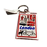 Llavero de recuerdo de Londres - Routemaster Bus Beefeater Big Ben Londres Puntos de interés - caja de teléfono roja/cabina británica/recuerdo británico