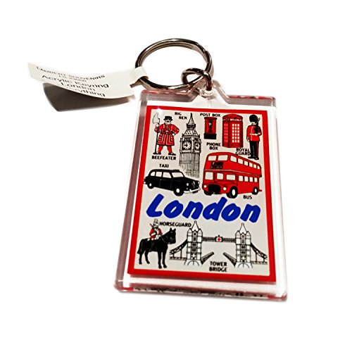 Sights of London Routemaster Bus Beefeater Big Ben London Landmarks Schlüsselanhänger – Rot