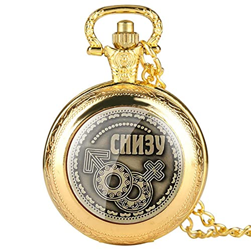 JTWMY Reloj de Bolsillo de Cuarzo con exhibición de Monedas Rusas, Relojes con Colgante de Recuerdo con Cadena de Collar para Hombres, Mujeres, Oro