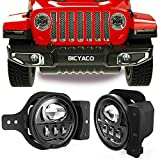 LED Fog Lights with Adapter Ring Compatible with Wrangler JL 2018-2019 Passing Lights 30W-Black