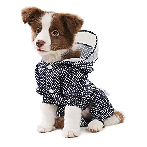 Idepet Chubasquero para Perros con Capucha, Impermeable Chaqueta Abrigo para Perros Ligero Exteriores Poncho para Lluvia Mono con Orificio para el Arnés (XXL, Azul)