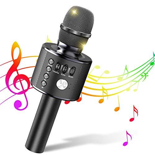 Mikrofon, Kinder Mikrofon, Drahtloses Bluetooth Karaoke Anlage Microphone für IOS/Android/PC/Smartphone, Haushalt Kabellos Handheld Microfon für Musik Abspielen und Singen, KTV (schwarz)