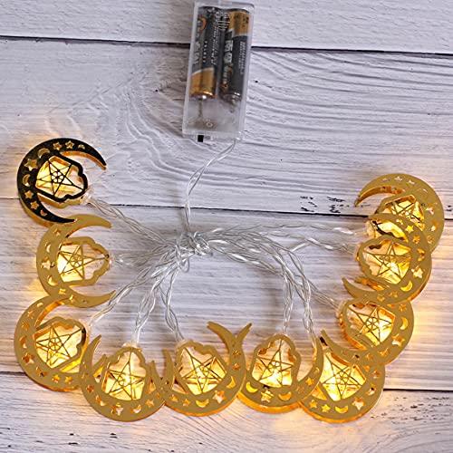 Guirnalda de Luces Ramadan, Luces Dorado Luna Estrella 3M 20 luces LEDs Luces en Cadena Eid Mubarak Musulmán Islam Fiesta para Salón de Bodas Fiesta en el Jardín (Blanco cálido)