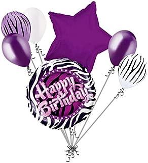 7 pc Purple Zebra Print Happy Birthday Balloon Bouquet Party Decoration Animal