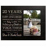 LifeSong Milestones Personalized Twenty Year for her him Couple Custom Engraved Wedding Gift for Husband Wife Girlfriend Boyfriend Photo Frame Holds 4x6 Photo (Black)