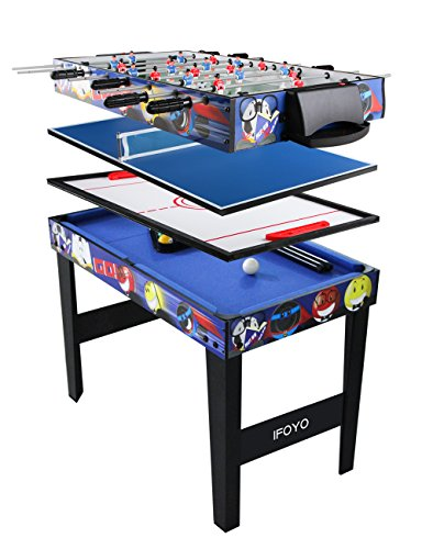 IFOYO Combo Game Table for Kids, 4 in 1 Pool Table Foosball Table Hockey Table Ping Pong Table Ideal for Kids, Blue, 31.5x18.9x23.6 Inches