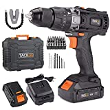 TACKLIFE 20V Cordless Drill Driver with 2 Batteries, 1/2' Metal...