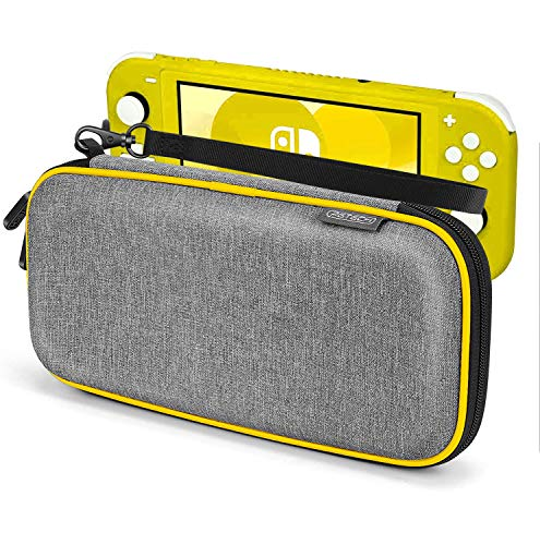 Carrying Case for Nintendo Switch Lite, Anti-Deformation Hard Premium Waterproof Material Carry Case for Switch Lite, with 8 Games Cartridges Storage and Portable Carrying Lanyard-Gray (Yellow)