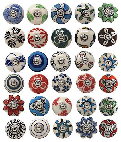 Keramikknäufe für Kommode, Schubladen, Küchenschränke, Badezimmerschränke, Truhen, Vintage, bunt, 30 Stück
