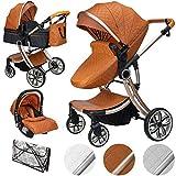 ib style® 3 in 1 JUMA Kombikinderwagen| Kinderwagen + Buggy | inkl. Autoschale | inkl. Regenschutz | Klappbar | MARRON
