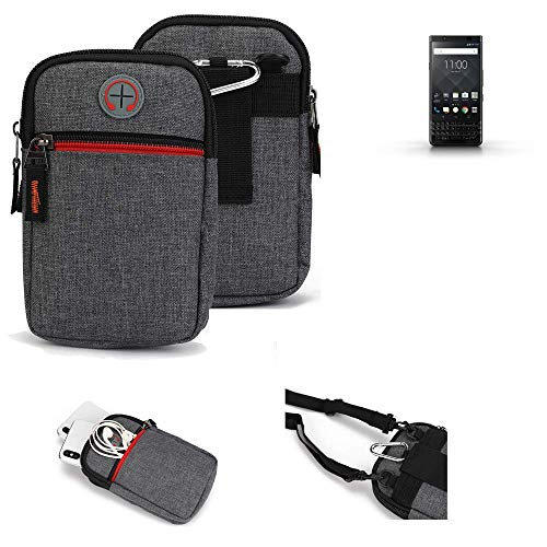 K-S-Trade® Gürtel-Tasche Für BlackBerry KEYone Black Edition Handy-Tasche Holster Schutz-hülle Grau Zusatzfächer 1x