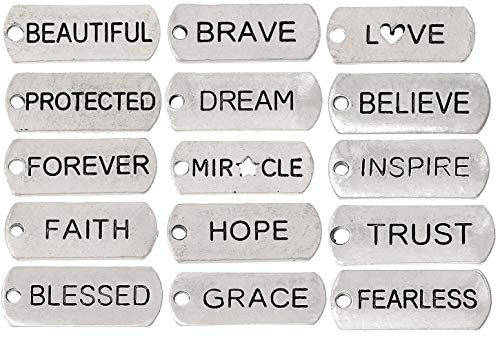 JGFinds Assorted Inspirational Message Tag Charms, Silver Tone, 50 Random Pieces