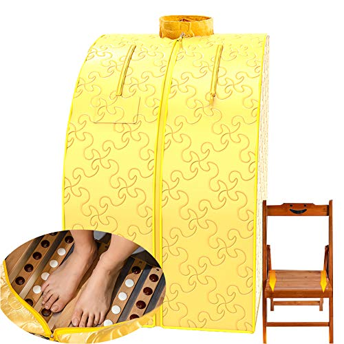 ZYQDRZ Infrared Sauna Spa, Weight Loss Sauna, Body Detoxification, Relaxation at Home, Handheld Remote Control, Heated Foot Pads and Chairs,Yellow