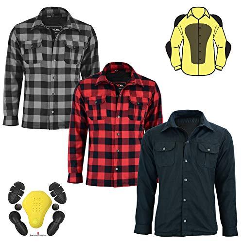 Motorrad Motorrad Holzfäller Kevlar Shirt vollständig geschützt mit abnehmbaren CE gepanzerte Premium Qualität Flanell 2 Farben alle Größen (Medium, Rot & Schwarz)