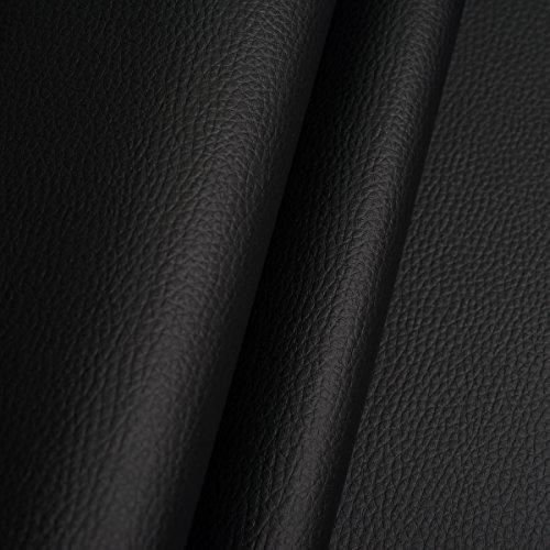 EDGE Kunstleder Meterware 1lfm 1,4m breit Polsterstoff Bezugsstoff Lederoptik Schwarz