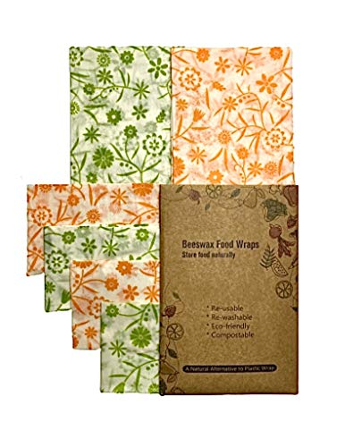 Emballage Cire d'abeille Bio - Beeswax Wrap- Zéro Déchet, Emballage Alimentaire Reutilisable Ecologique, Biodégradable | 1Petit, 2 Moyen Et 1 Grand Et 1 Bloc De Cire