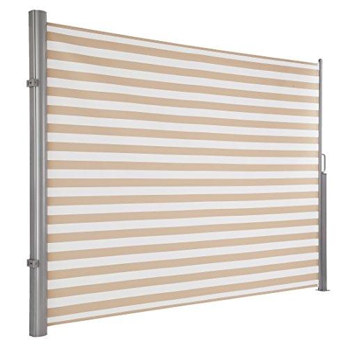Ultranatura Seitenmarkise Maui , Seitenwandmarkise ausziehbar, Seitenrollo für Balkon, Terrasse und Garten, Sonnenschutz, Windschutz und Sichtschutz, robust, 300 x 180 cm (LxH), creme/weiß