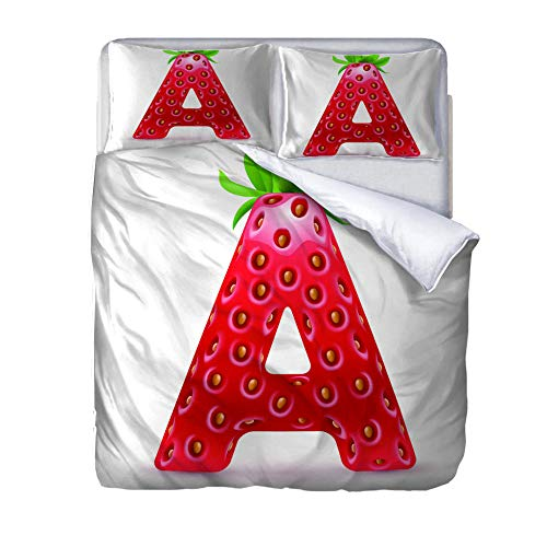 Superking duvet covers Strawberry letter A Quilt Cover Set with Zipper 100% Polyester with 2 Envelope Closure Pillowcases 50x75cm for Children adults woman 220x260cm