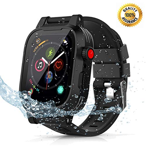 Transy Waterproof Apple Watch 4 case - 44mm Waterproof iWatch 4 Case Apple Watch 4 Case iWatch 4 Series 44mm Waterproof Case for 44mm Apple Watch 4 Waterproof Case Band Black for Men Women Girls