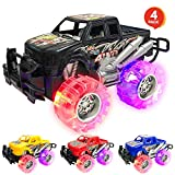 Light Up Monster Truck Set for Boys and Girls by ArtCreativity - Set Includes 4, 6 Inch Monster Trucks with Beautiful Flashing LED Tires - Push n Go Toy Cars Best Gift for Kids - for Ages 3+