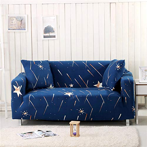 Azul marino impresión elástico sofá cubre universal sofá cubierta todo incluido antideslizante sofá toalla 2 plazas