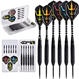 Naissgo Steel Tips Darts Set - Professional Darts Steel Tip with Brass Barrels and Extra Aluminum Shafts, O-Rings, Flights + Dart Tool and Sharpener + Gift Case (Plastic White Box 20g)