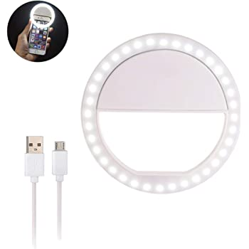 Aroland Ring Light for Phone Selfie Light Adjustable Brightness Selfie Light with 36 LED USB Rechargeable Make Up Light Ring Clip-on Circle Light for All Type Phone